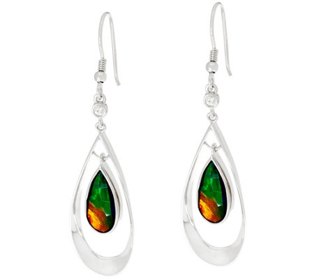 Ammolite Triplet Pear Shaped Sterling Silver Drop Earrings