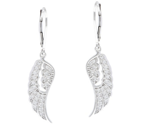 Diamonique Angel Wing Leverback Earrings, Sterling