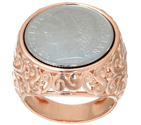"""As Is"" Bronzo Italia 100 Lire Coin Scroll Design Ring"