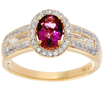 0.75 ct Oval Pink Fluorite & 3/8 cttw Diamond Ring, 14K Gold - J330252