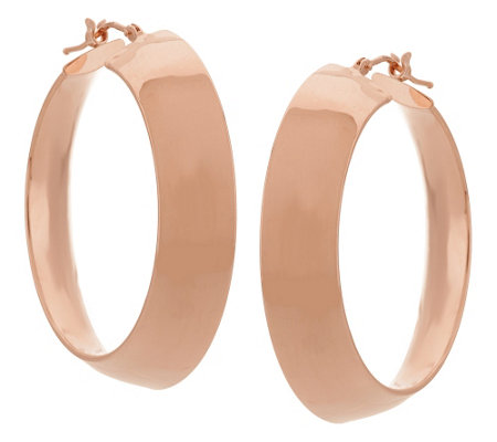 """As Is"" Italian Gold 1-1/2"" Polished Mirror Hoop Earrings, 14K"