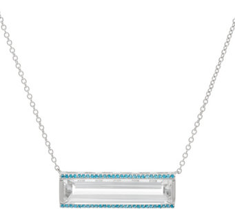 Jane Taylor White Topaz & Gemstone Sterling Bar Necklace - J330952