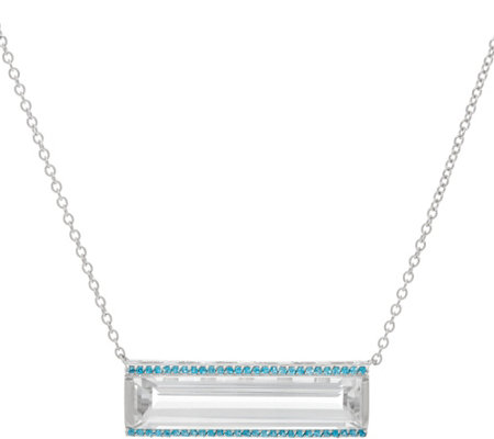 Jane Taylor White Topaz & Gemstone Sterling Bar Necklace