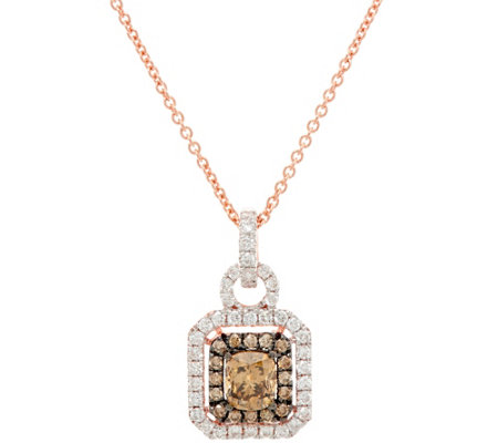 Natural Brown & White Diamond Pendant w/Chain 14K, 1.00 cttw, by Affinity
