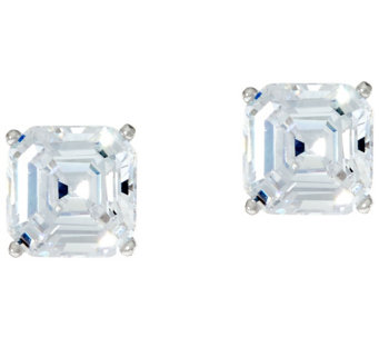 Diamonique 2.00 ct tw Asscher Cut Stud Earrings Platinum Clad - J332752