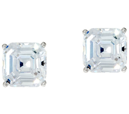 Diamonique 2.00 ct tw Asscher Cut Stud Earrings Platinum Clad