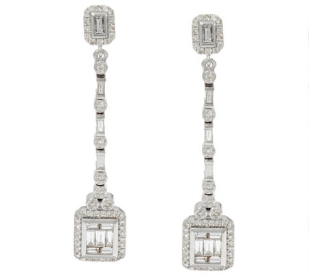 Baguette & Round Diamond Drop Earrings 14K, 1.00 cttw by Affinity