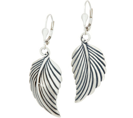 Sterling Silver Leaf Design Lever Back Earrings by American West
