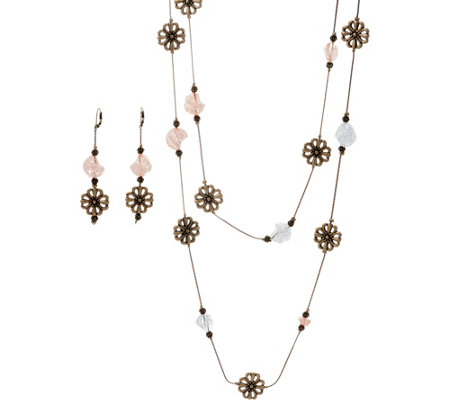 Linea by Louis Dell'Olio Flower and Bead Necklace Set