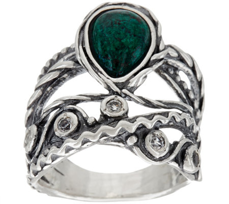 """As Is"" Sterling Silver Chrysocolla & White Topaz Ring by Or Paz"