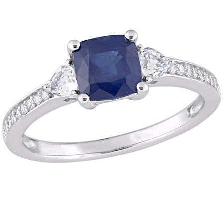 14K 1.60 cttw White & Blue Sapphire and 1/10 cttw Diamond Rin