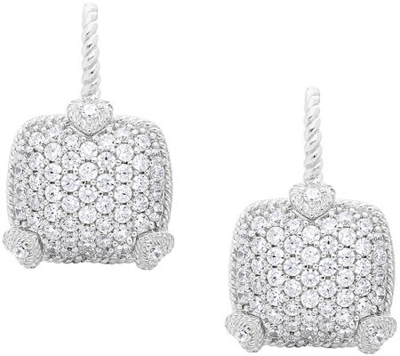 Judith Ripka Sterling Pave Diamonique Earrings