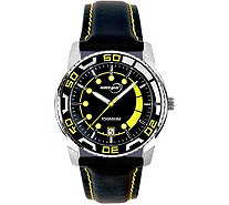 Tourneau Men's Stainless Black Leather Strap Sport Watch - J380652