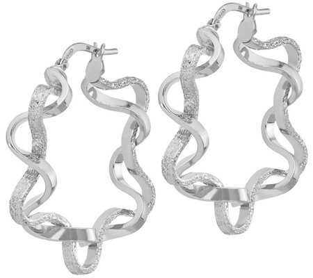 Italian Silver Double Twisted Hoop Earrings