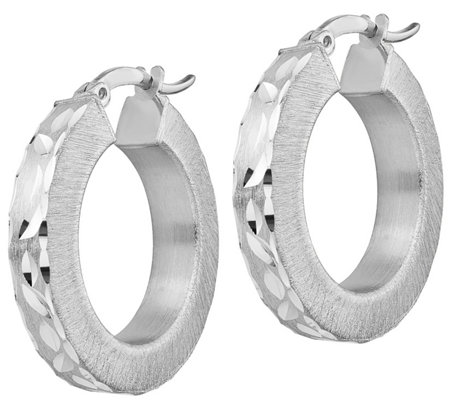 "Italian Silver 1"" Diamond-Cut Hoop Earrings"