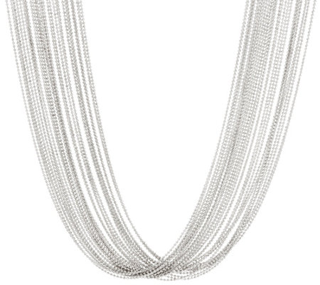 Italian Silver Sterling Multi-Strand Necklace 71.7 - 101.0g