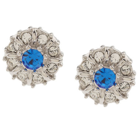 Jacqueline Kennedy Simulated Sapphire & Crystal Studs