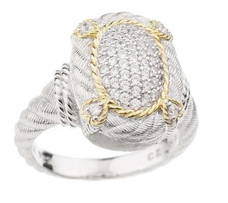 Judith Ripka Sterling & 18K Clad Pave' Diamonique Ring