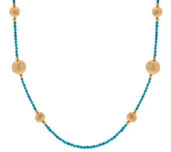 "Bronze 24"" Gemstone & Bead Station Necklace by Bronzo Italia - J270953"