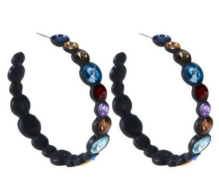"""As Is"" Wildlife by Heidi Klum Faceted Siren Hoop Earrings"