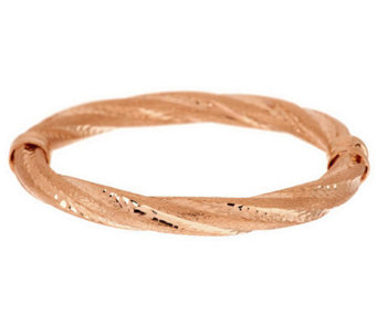 Veronese 18K Clad Average Satin Twist Hinged Bangle - J277753