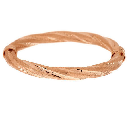 Veronese 18K Clad Average Satin Twist Hinged Bangle