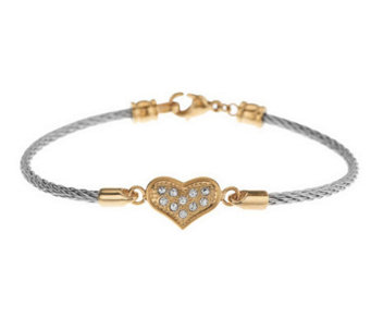 Stainless Steel Horizontal Crystal Design Bracelet - J278953