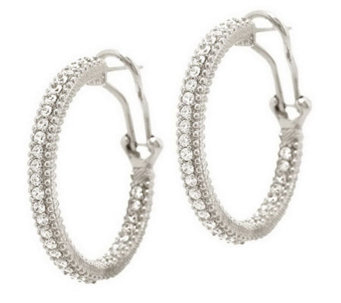 "Judith Ripka Sterling or 14K Clad Diamonique 1"" Hoop Earrings - J285753"