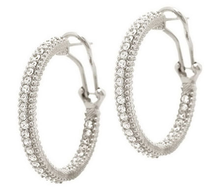 "Judith Ripka Sterling or 14K Clad Diamonique 1"" Hoop Earrings"