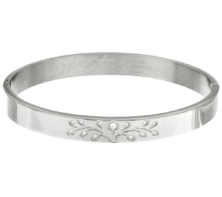 Stainless Steel Family Tree Engraved Hinged Bangle