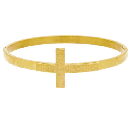 "Stainless Steel ""Serenity"" Prayer Horizontal Cross Bangle"