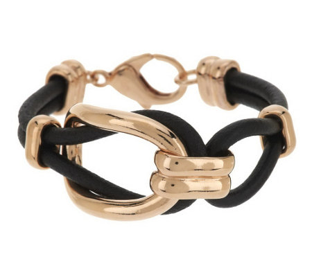 """As Is"" Bronzo Italia Oval Status Link Black Leather Bracelet"
