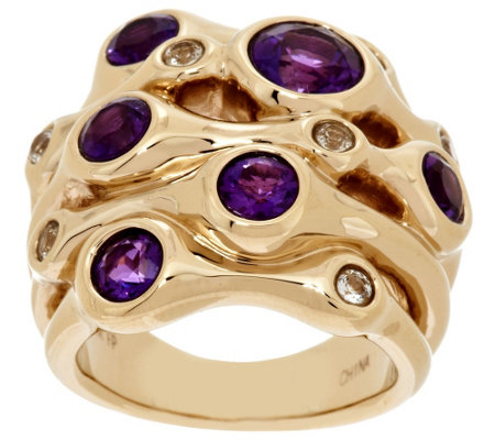 14K Gold Polished Multi-Gemstone Cluster Ring