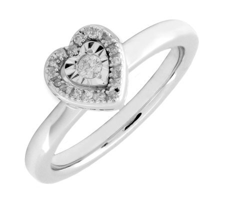 Simply Stacks Sterling Diamond Heart Ring withShining Center
