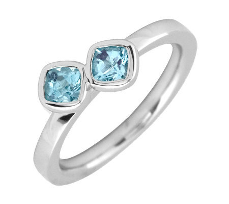 Simply Stacks Sterling Aquamarine Double-SquareGemstone Ring