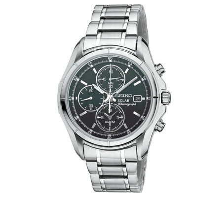 Seiko Men's Solar Alarm Chronograph Watch withBlack Dial
