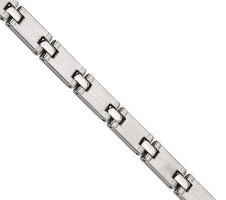 "Forza 8-1/4"" Polished Rectangle Link Bracelet"