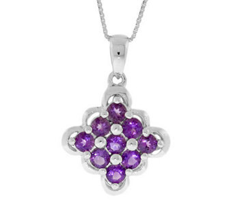 "Sterling Amethyst Scalloped-Edge Pendant with 18"" Chain - J304753"