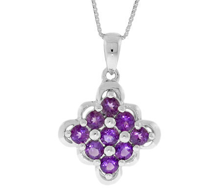 "Sterling Amethyst Scalloped-Edge Pendant with 18"" Chain"
