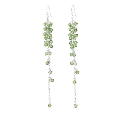 Sterling Green Crystal Bead Dangle Earrings