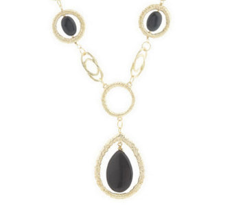 Goldtone Red or Black Stone Wrapped Fashion Necklace - J306653