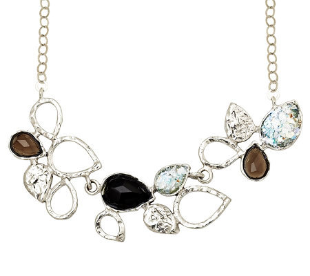 Or Paz Sterling Roman Glass & Multi-gemstone Necklace