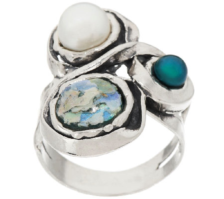 Sterling Silver Roman Glass & Cultured Pearl Ring by Or Paz