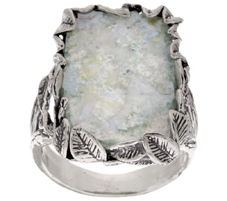 Sterling Silver Leaf Border Roman Glass Elongated Ring by Or Paz