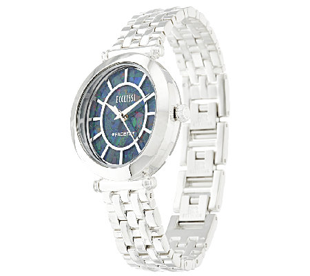 Ecclissi Facets Stainless Steel Opal Dial Polished Watch