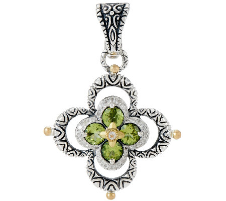 Barbara Bixby Sterling & 18K Peridot & White Topaz Double Flower Enhancer