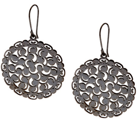 Sterling Silver Lace Design Earrings by Silver Style