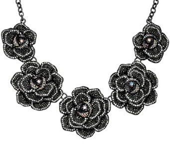 "Joan Rivers Extravagant Pave' Rose 18"" Statement Necklace - J321553"