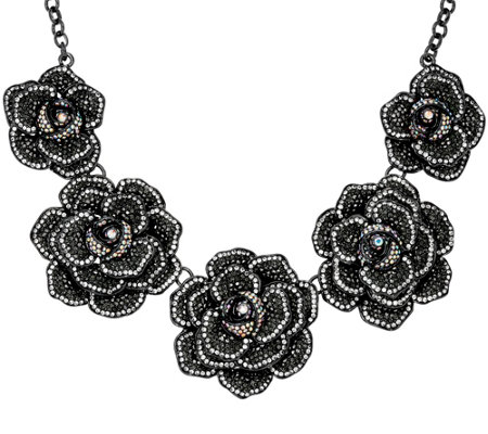 "Joan Rivers Extravagant Pave' Rose 18"" Statement Necklace"