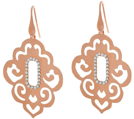 Bronze Scroll Cut-Out Crystal Dangle Earrings by Bronzo Italia